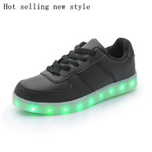 2016 autumn and winter hot new black boys and girls led light shoes kids USB charging glowing sneakers, zapatillas con luces