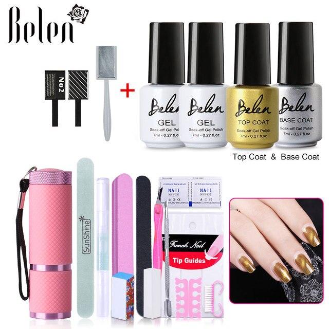Belen UV LED Cat Eye Gel Polish 2pcs Top Base Coat Free Magnet Stick Gel Nail Kit Nail Art Tools Sets Kits Manicure Salon Tools