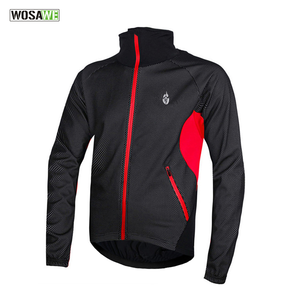 WOSAWE Fleece Thermal Winter Cycling Jacket Windproof Bike Bicycle Coat Clothing Long Warm up Jersey Waterproof Black with red men fleece thermal autumn winter windproof cycling jacket bike bicycle casual coat clothing warm long sleeve cycling jersey set