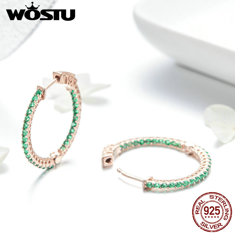 WOSTU Earrings for Women 925 Sterling Silver Green and Rose Gold Surface Stud Earrings Orecchini Fashion Jewelry Gifts BKE511 2