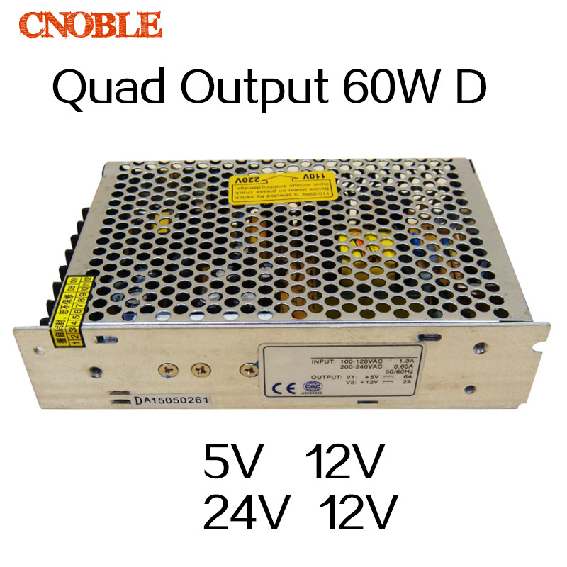 60W D Quad output 5V 12V 24V -12V Switching power supply AC to DC SMPS 30w triple output 5v 24v 12v switching power supply smps ac to dc