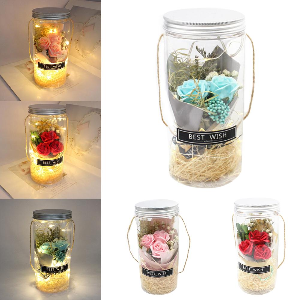Rose Night Light Glass Wishing Bottle Night Lamp Decor Beauty And The Beast For Valentine's Day Wedding Gift Desk Lamp Dropping