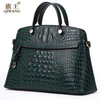 Qiwang 100 Top Layer Genuine Cow Leather Women Crocodile Bag Handbag Hot Selling Tote Women Bag