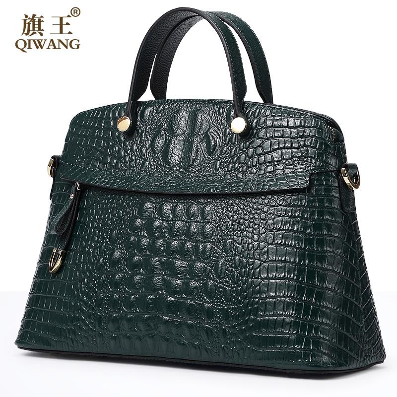 Qiwang 100% Top Couche Véritable de Vache En Cuir Femmes Crocodile Sac À Main Brand Design Fourre-Tout Femmes Sac Grande Capacité Dame Bourse
