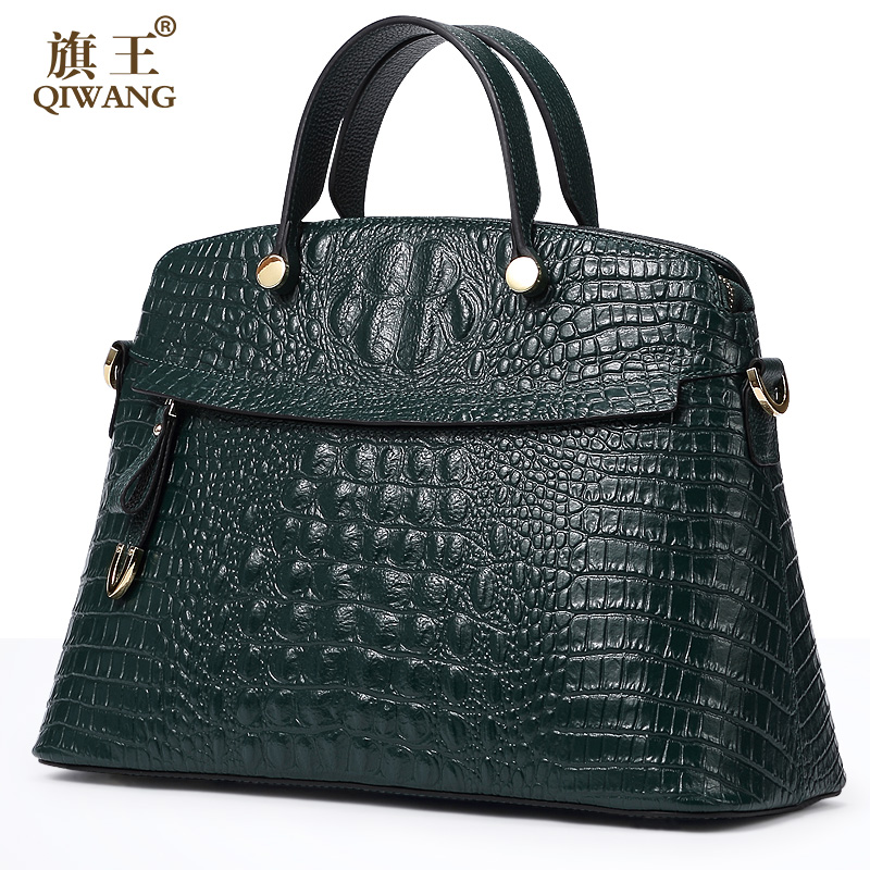 Qiwang 100% Top Layer Genuine Cow Leather Women Crocodile Bag Handbag Brand Design Tote Women Bag Large Capacity Lady Purse stylish women s tote bag with clip closure and crocodile print design