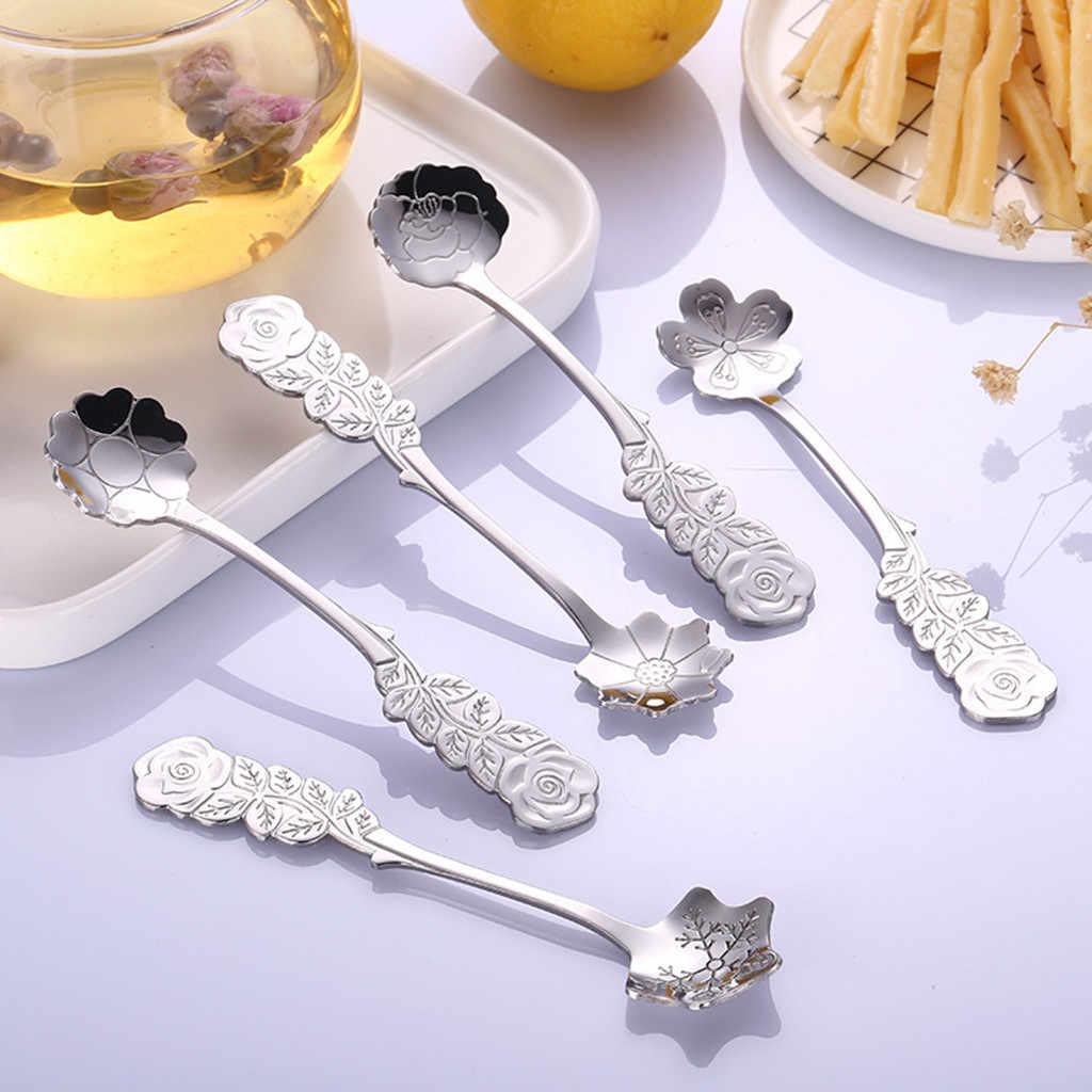 Flower Scoop Stainless Ice Cream Mold Scoop Coffee Mug Spoon Stack Dessert Ice Cube Candy Tea Yogurt Gadget Kitchen Accessories