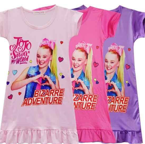 01275f5730bf2 Girl Kids Jojo siwa Pyjama Nightie Dress Cartoon Sleep Wear Print Nightgown  Pajama Nightie Cute Princess