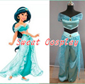 Free Shipping New 2015 Custom Made Holloween Adult Princess Jasmine Dress Princess Jasmine Costume For Women Cosplay Costume