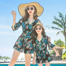Купить с кэшбэком mother daughter beach dresses above-knee mommy and me clothes family look mom mum and daughter matching outfits dress clothing