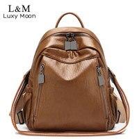 Women Backpack High Quality Leather Anti theft Backpacks School Bags For Teenage Girls Female Rucksack Waterproof Bag Hot XA303H