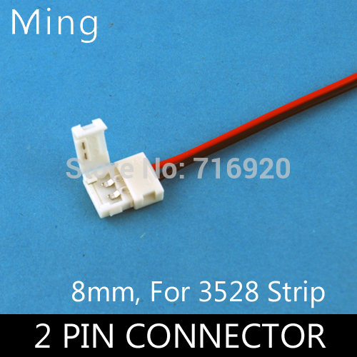 Wire with 2 Pin  welding free connector at 1 end  for  8mm width 3528 led strip to strip connection 10pcs/lot  free shipping
