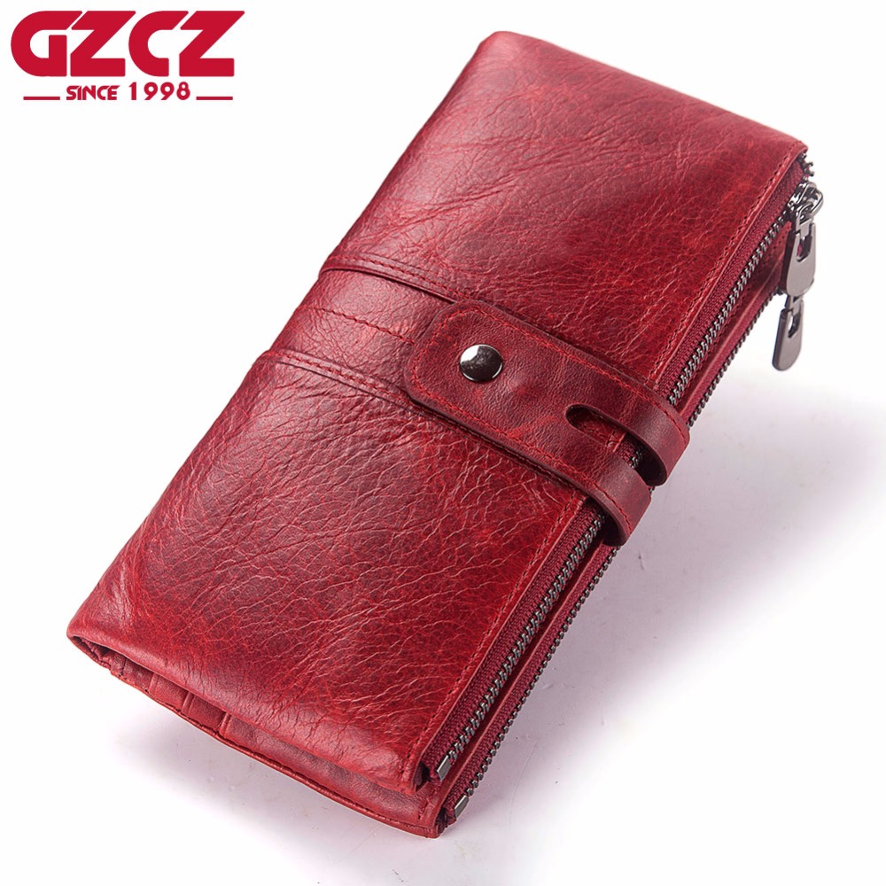 GZCZ Women Purse Genuine Leather Wallet Ladies Cellphone Clutch Bag With High Quality Card Holder Walet Long Zipper Coin Purses
