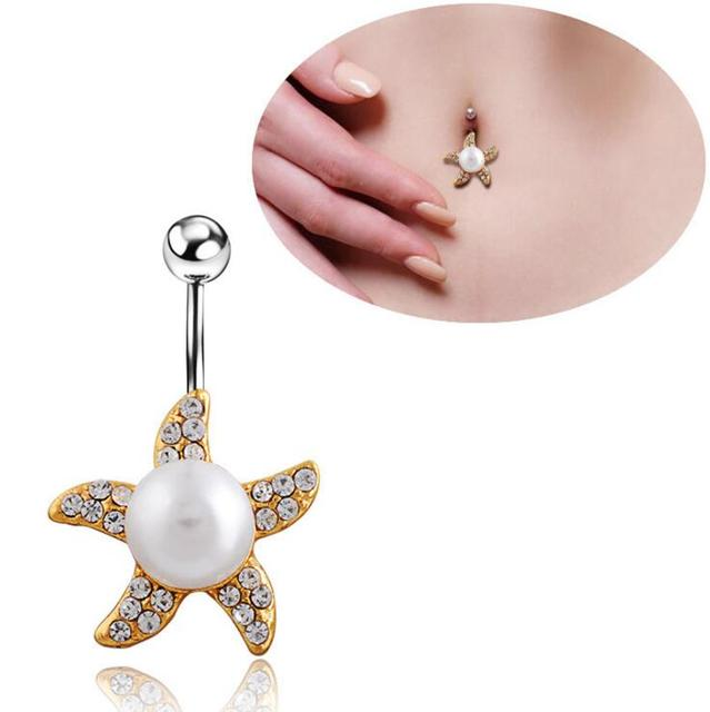 Us 1 25 2016 New Desgin Starfish Pearl Belly Button Ring Surgical Steel Vintage Style Navel Piercing Ring In Body Jewelry From Jewelry
