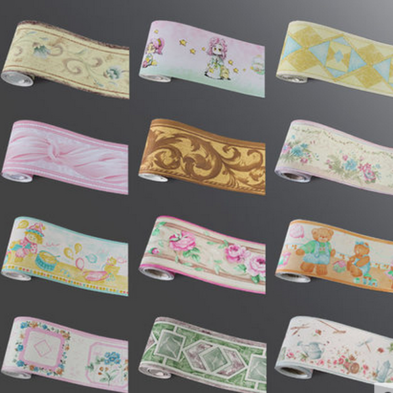 10Meters Self Adhsive PVC Wallpaper Border Home Decor Waterproof Kitchen Wall Skirting Bathroom Wall Waistline Wall Paper Border