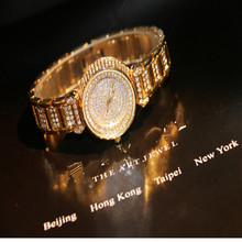High Quality Female Watches High-End Chain Full Rinstone Quartz  Womens Watch
