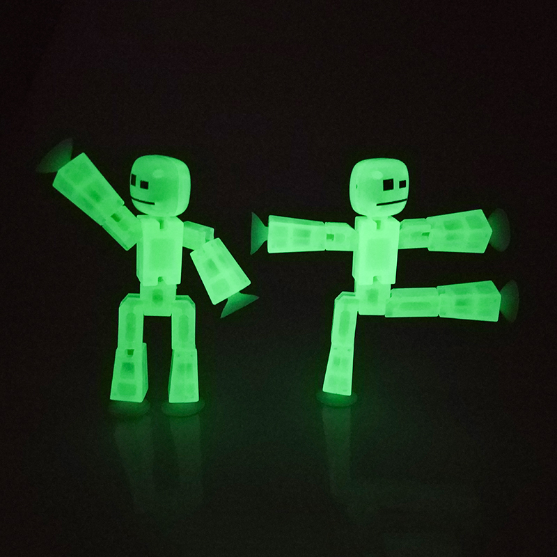 1pcs Limited Edition Luminous Movable Joint Figure In Action Figure Suction Cup Funny Deformable Sticky Fluorescence Toys