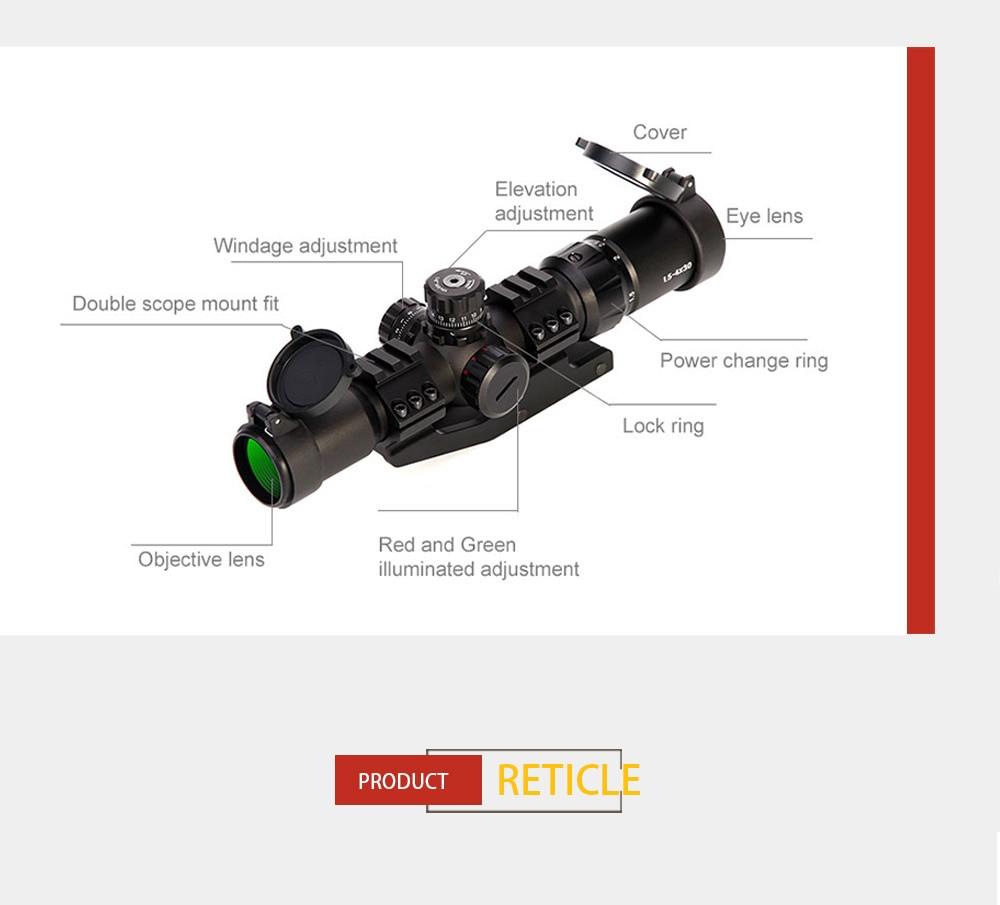 1.5-4x30 tratical caça riflescope rgb iluminado mira