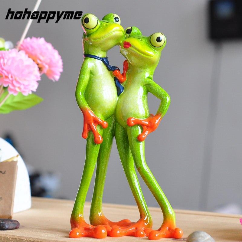 창조적 인 혁신적인 제품 2017 새로운 재미있는 수지 개구리 참신 선물 사랑하는 커플 입상 창조적 인 혁신적인 제품