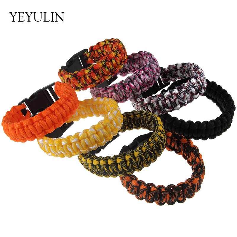 Trendy New Survival Paracord Bracelet For Men Women Outdoor Camping Hiking Buckle Wristband Rope Bangles Jewelry
