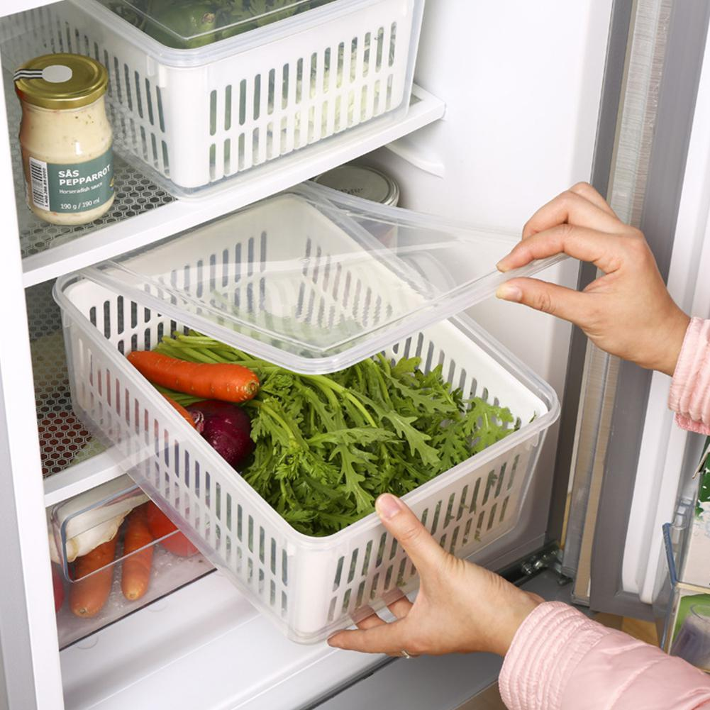 Large Size Double Layer Drain Basket Fridge Preservation Box For Kitchen Refrigerator Vegetable Fruit Fresh Keeping Storage Bin