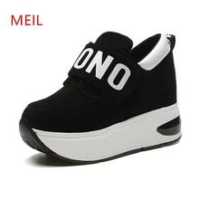 Hidden Heel Platform Sneakers Women Lightweight Comfortable Vulcanize Shoes Height Increasing 9CM Casual Wedges For