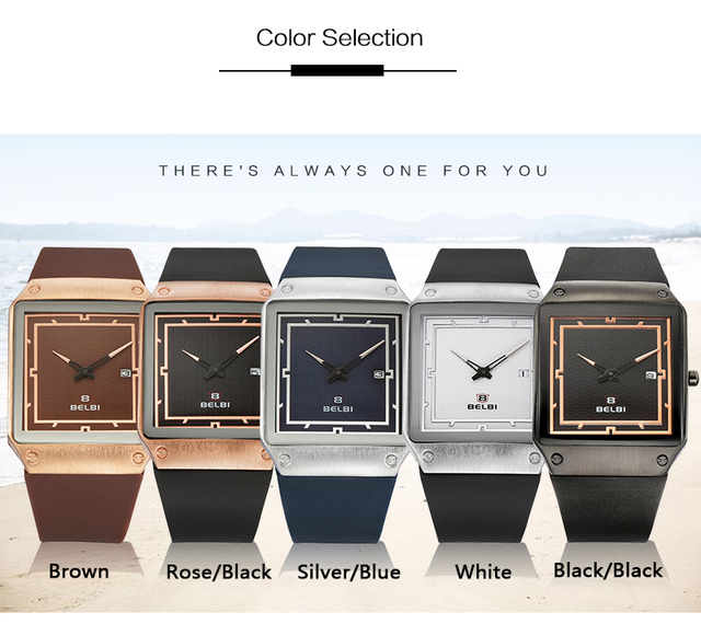 BELBI Sport Mens Watches Top Quality Silicone Band Quartz Clock Rose Gold Butterfly Buckle Rectangle Design Dial Wristwatches