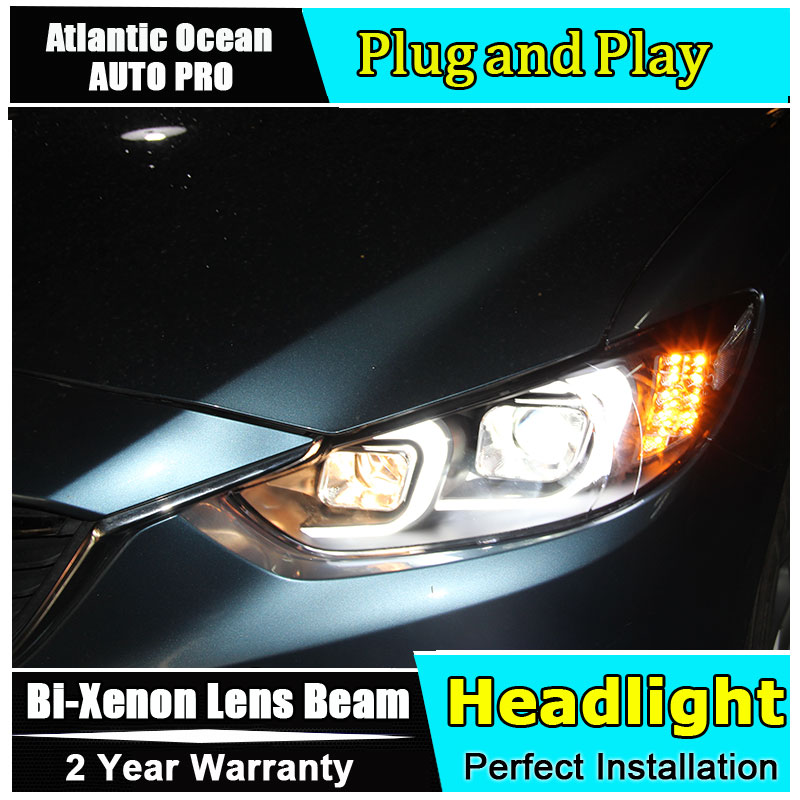 new headlights For Mazda 6 Atenza 2014 2016 D2H xenon for Mazda 6 headlamps LED bi xenon len parking car styling led drl