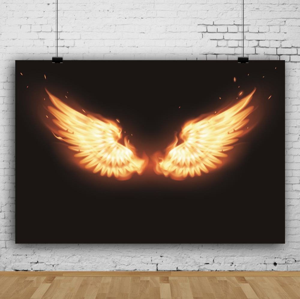 Laeacco Angel Wings Burning Fire Baby Portrait Children Photography Background Customized Photographic Backdrop For Photo Studio in Background from Consumer Electronics