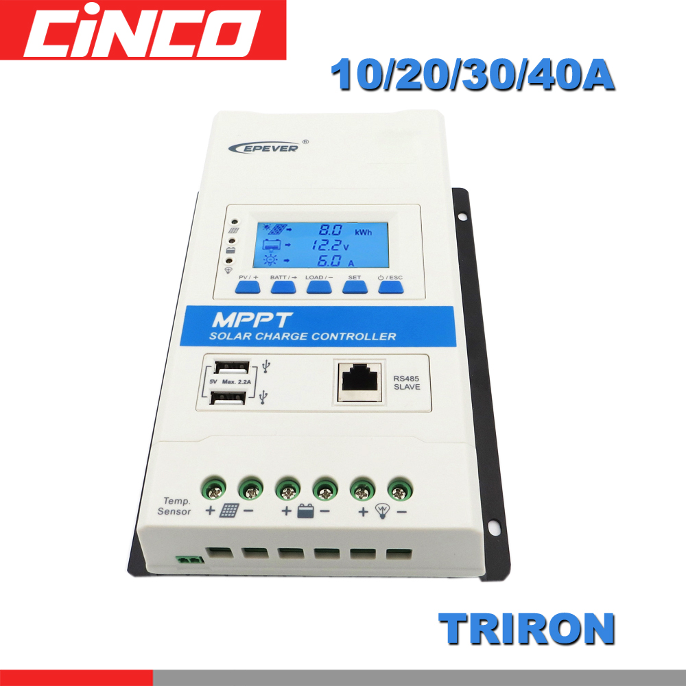 40A 30A 20A 10A TRIRON MPPT Solar Charge Controller 12V 24V Auto Black light LCD Modular