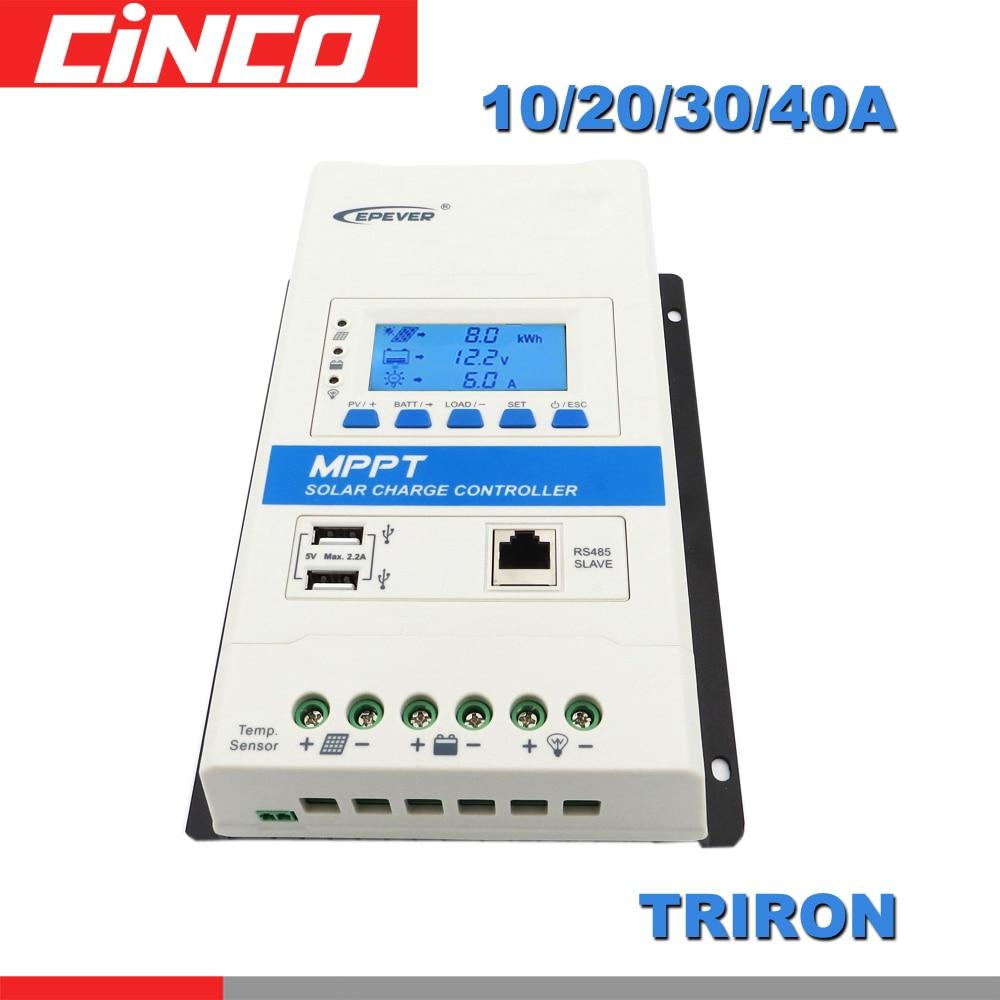 40A 30A 20A 10A TRIRON MPPT Solar Charge Controller 12V 24V Auto Black light LCD Modular