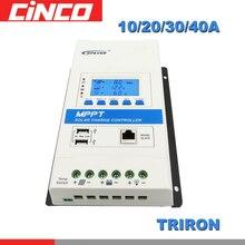 40A 30A 20A 10A TRIRON MPPT regulator ładowania słonecznego 12V 24V Auto czarno białe LCD modułowy regulator słoneczny moduł DS2 UCS