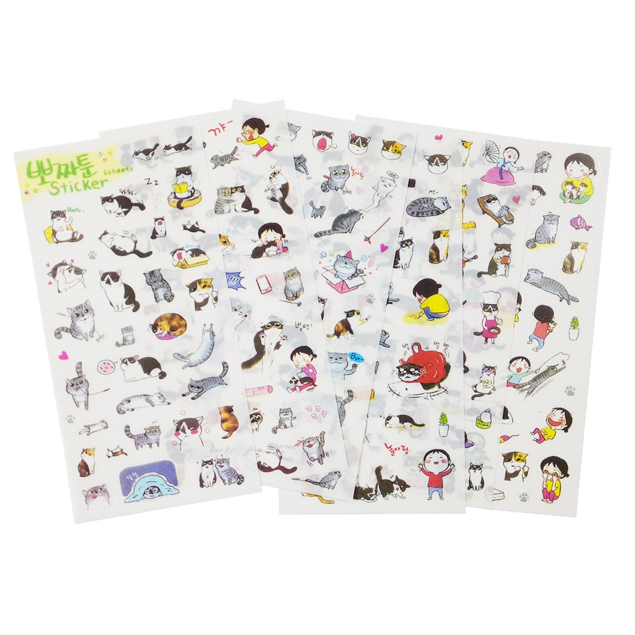 15packs/lot Cute Love Cat Series Multifunctional PVC Sticker Set  Diary Sticker Scrapbook Decoration Stationery Stickers