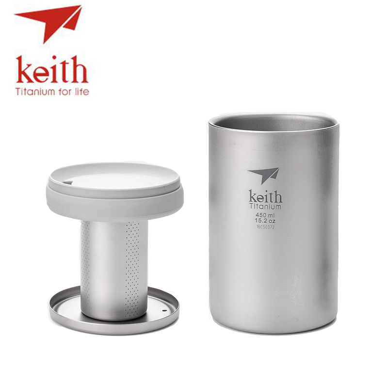 Keith 450ml Double Wall Titanium Mug With Loose Tea Infuser Camping Tea Coffee Maker Titanium Strainer