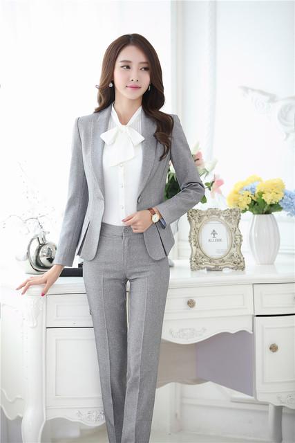 Novedad Gris Formal Uniforme Diseño Profesional Trajes de Negocios Blazers Chaquetas Y Pantalones Señoras de la Oficina Pantalones Femeninos Conjuntos