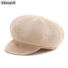 XdanqinX 2019 New Style Womens Straw Hat Breathable Newsboy Caps Elegant Fashion Hats Summer Sunscreen Female Tongue Cap