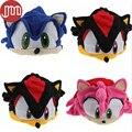 """1 PCS de X de Sonic The Hedgehog velo Cap Cosplay Anime chapéu de pelúcia trajes azul rosa cerca de 6 """" de rastreamento"""