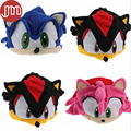 "New 1 PCS Sonic X FS Sonic The Hedgehog Fleece Cosplay Cap Anime Beanie Plush Hat Costumes Black Blue Pink Approx 6"" Tracking"