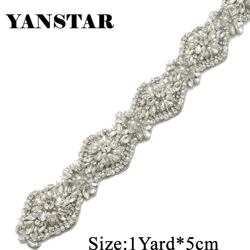 Yanstar 1 Yard Rhinestones Appliques Wedding Dresses Belts Sew On