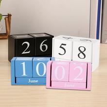 Винтажный деревянный настольный календарь, деревянный блок, строгальный станок, постоянный Настольный органайзер, вечный календарь, домашний декор