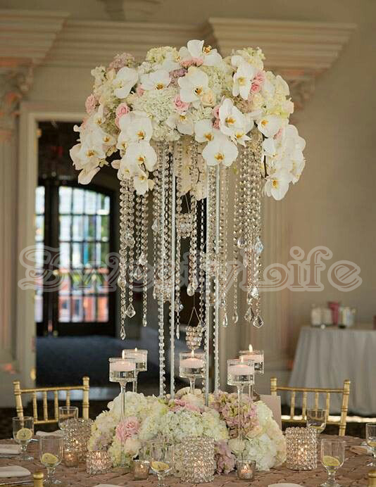 10PCS lot acrylic crystal wedding centerpiece 60cm Tall Flower Stand in Vases from Home Garden