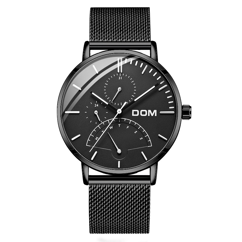 DOM luxury brand wristwatches waterproof mens watches quartz stainless steel business man clocks calendar Switzerland watch luxury mens gold diamond stainless steel watches quartz calendar 30m waterproof man clocks luminous top brand original watch