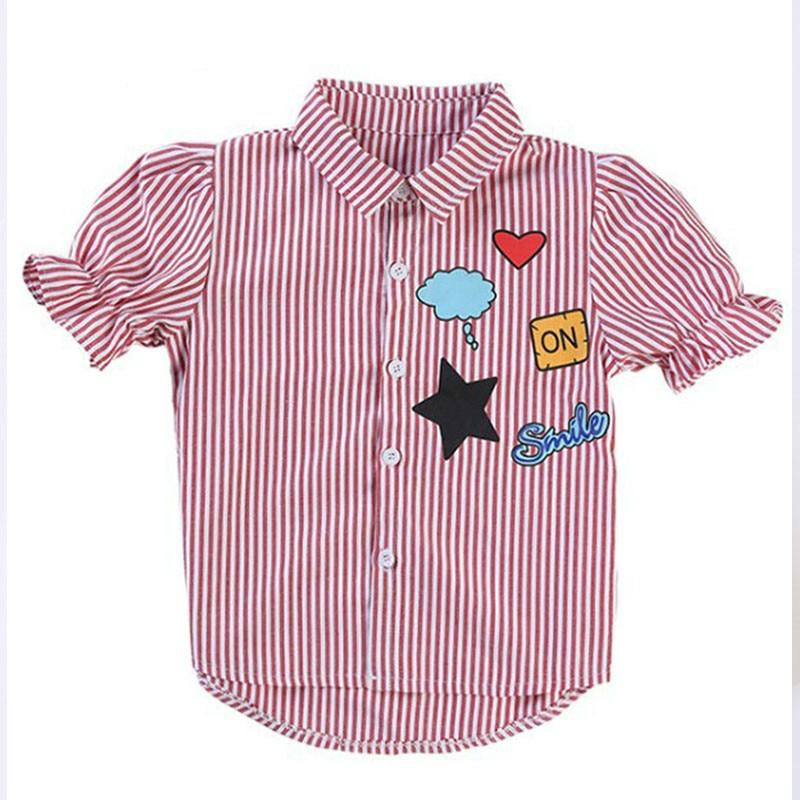 Dívčí košile pro dospělé Dívka pro pruhované halenky 2018 Letní ... 103c6f901b