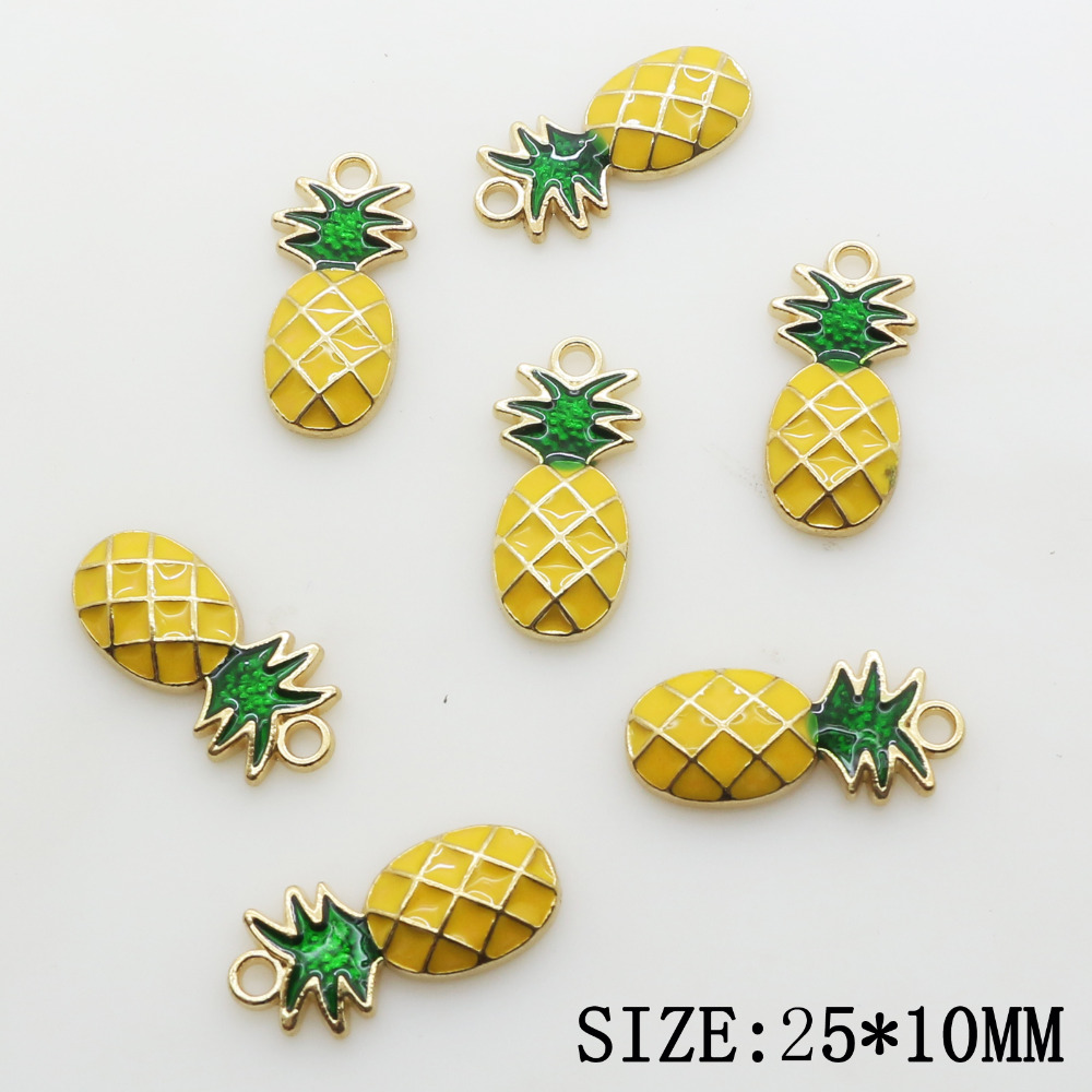 Hot Sale 10pcs 25*10mm Yellow Pineapple Pentagon Metal Beads Jewelry Accessories/Component for Chain Decoration Wholesale Supply