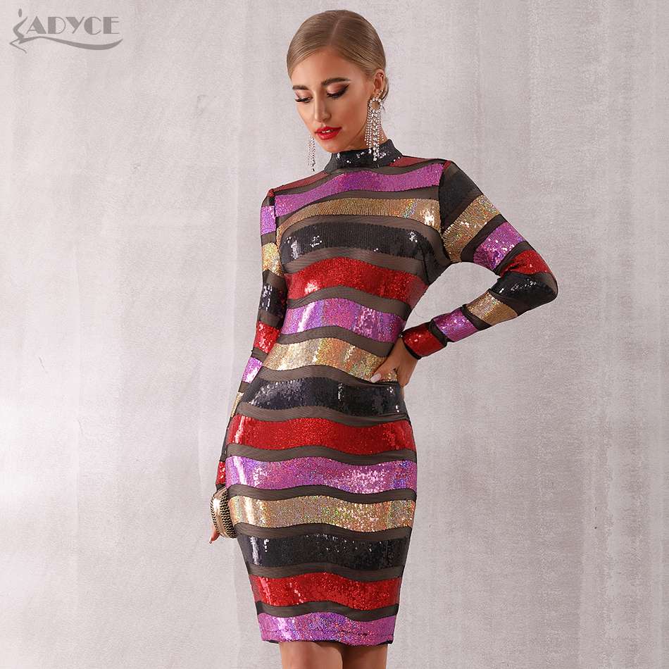 ADYCE 2019 New Autumn Celebrity Party Sequined Dress Women Long Sleeve Backless Sexy Lace Hollow Out Luxury Club Dress Vestidos-in Dresses from Women's Clothing    1