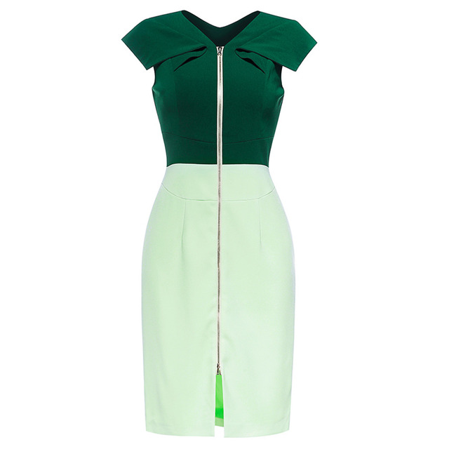 European Boutique Womens Pleated Ruffled Cap Sleeve Full Front Zipper Cocktail Party Dress