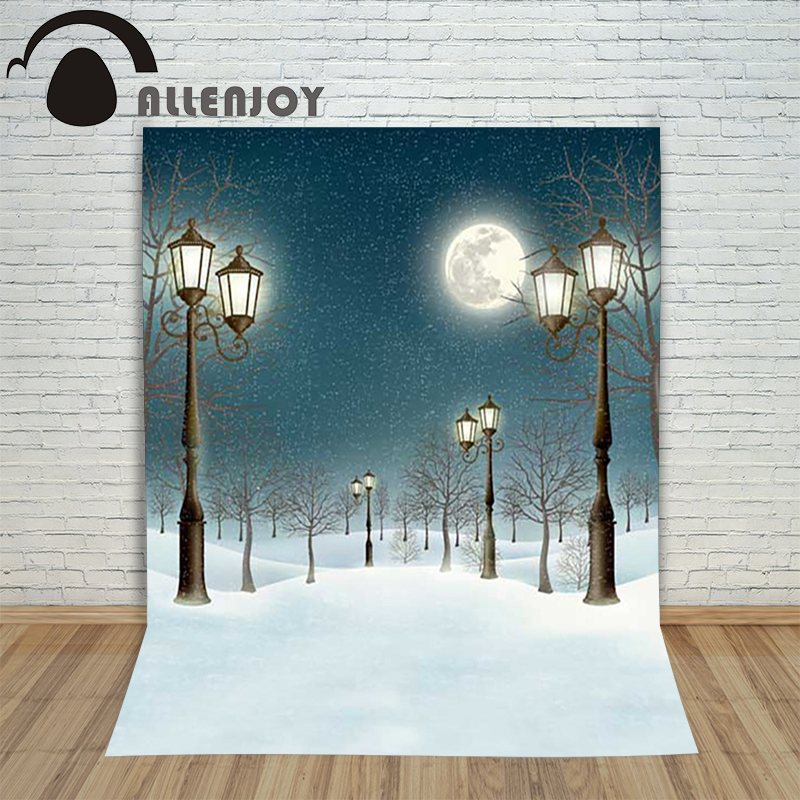 Background photography studio Christmas Snow street lights moon snowflakes background for photo shoots studio childrens camera