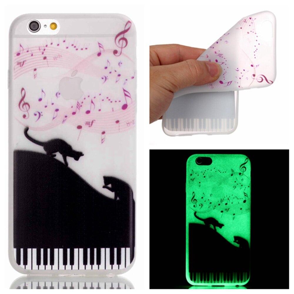 Роскошные Световой Музыкальные ноты Случаи Телефона Для iPhone 7 7 Plus 6 6 s плюс 5 SE 5S night Light Симпатичные Cat Мягкий ТПУ Силиконовый Чехол капа