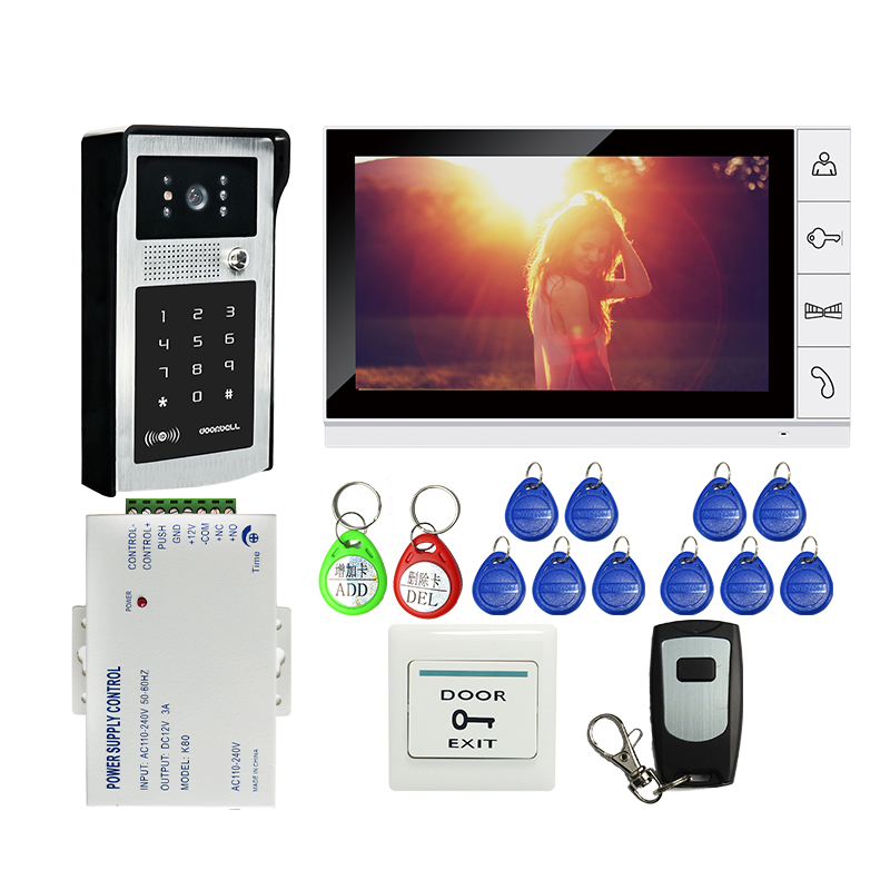 Free Shipping 9 inch LCD Screen Video Door Phone Intercom Kit + Outdoor RFID Code Keypad Number Doorbell Camera + Remote + Power free shipping 7 screen recording video intercom door phone set outdoor rfid access doorbell camera power remote 8g sd