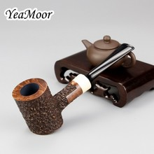 Hammer Style Briar Pipe 9mm Filter Tobacco Smoking 50 cleaner 20 filter Carven Random Carved Wood