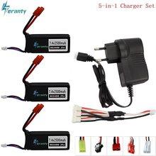 7.4v conjuntos de carregador de bateria para syma x8c x8w x8g x8 rc quadcopter peças para 12428 12423 rc peças de carro 7.4v 2500mah lipo bateria